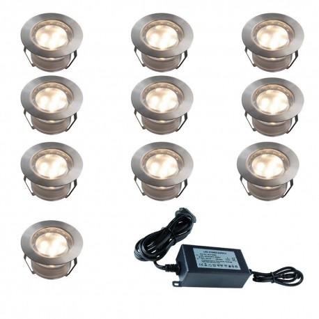 Set de 10 Spots Blanc Chaud (12V) à encastrer Ø45mm + Transformateur 30 W