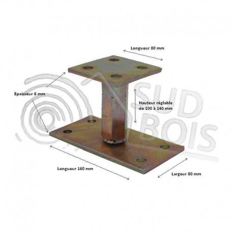 Pied de poteau réglable hauteur H100/140mm universel galvanisé
