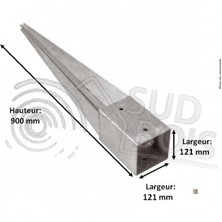 Support pied de poteau 12 x 12 x 90 cm ( 12x12 ) à enfoncer galvanisé à chaud