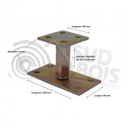 KIT Pied de poteau réglable hauteur H100/140mm universel galvanisé B16X8 + 4 goujons d'ancrages