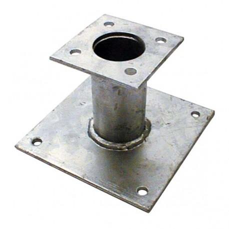 Pied de poteau fixe 100mm double platine galvanisé à chaud