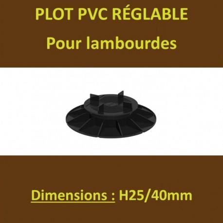 Plot H25/40mm PVC Réglables à Vérin pour Lambourdes Terrasse Bois