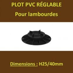 60 Plots H25/40mm PVC Réglables à Vérin pour Lambourdes Terrasse