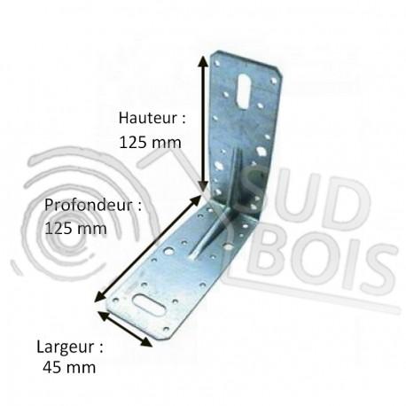 Équerre de fixation d'assemblage galvanisé 125x125x45mm Ep. 2.5mm