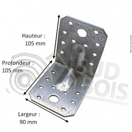 Équerre galvanisé d'assemblage avec renfort 105x105x90 2.5 mm