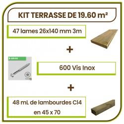 ☺ Kit Terrasse 19.74 m² Douglas Autoclave Marron Choix Standard Lisse. Livraison Gratuite
