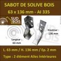 Sabot de Solive / Charpente à ailes intérieures 2 éléments 63x136