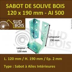 Sabot Universel de Solive pour Charpente à Ailes Intérieures 120x190 mm