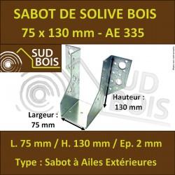 Sabot de Solive / Charpente à ailes extérieures 75x130 x 2 mm AE 335