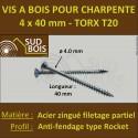 200 Vis Bois 4x40 TORX T20 Zinguée Pointe Anti-Fendage type Rocket