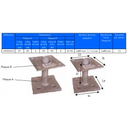 Pied de poteau réglable hauteur H20/90mm universel galvanisé