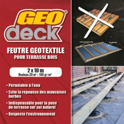 20 m² - Feutre Géotextile Noir 100 g / m² Rouleau de 2m x 10m