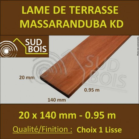 Lame Terrasse Massaranduba KD 20x140 Lisse 2 Faces 20x140 0.92m