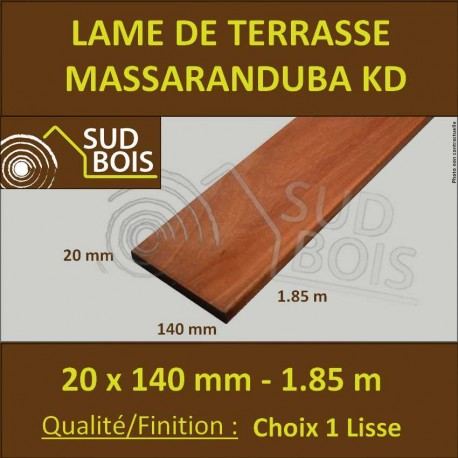Lame Terrasse Massaranduba KD 20x140 Lisse 2 Faces 20x140 1.83m