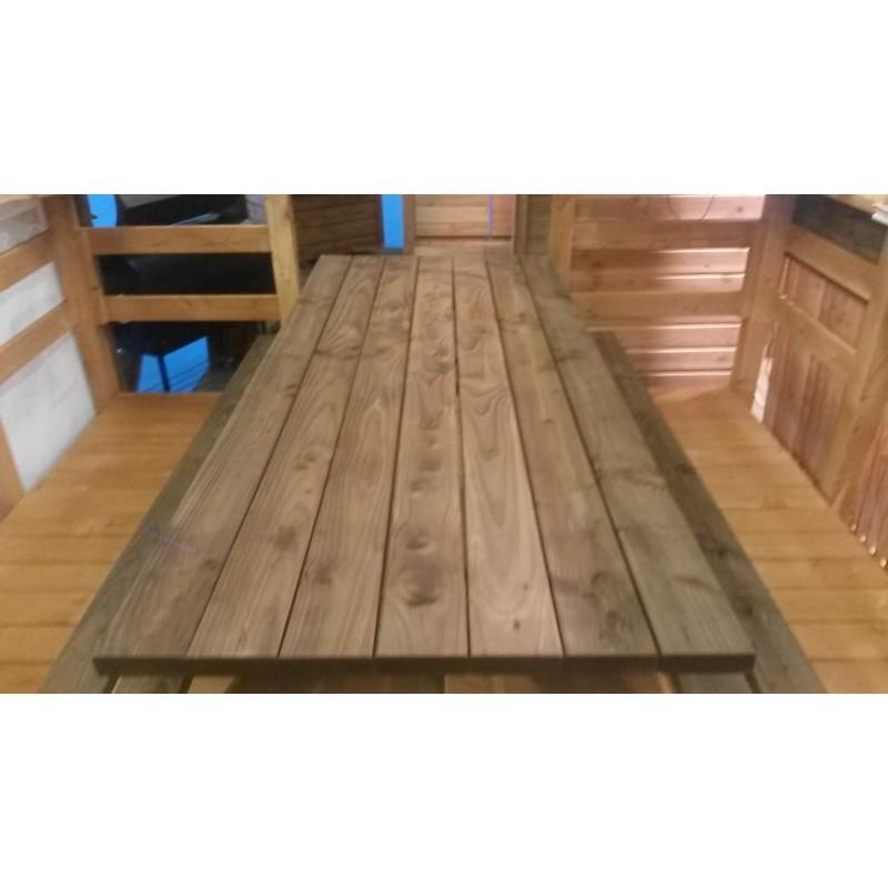 table banc de pique nique pmr douglas autoclave marron 2m livraison gratuite fr. Black Bedroom Furniture Sets. Home Design Ideas