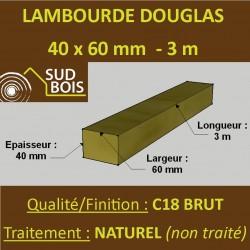 ☺ Lambourde / Tasseau 60x40mm Douglas Naturel 3m