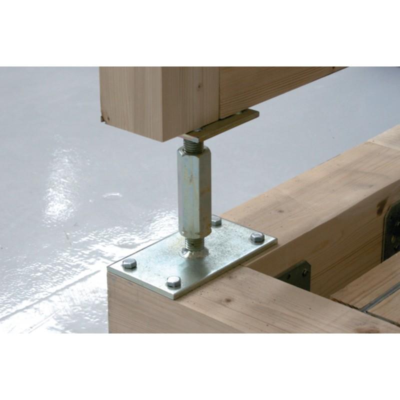 pied de poteau r glable hauteur h110 180mm universel galvanis b16x9. Black Bedroom Furniture Sets. Home Design Ideas
