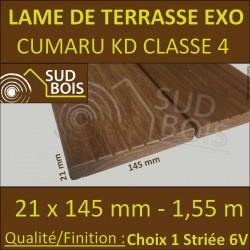 * PROMO Lame de Terrasse Cumaru KD 21x145 Lisse et Striée 6V 1.55m